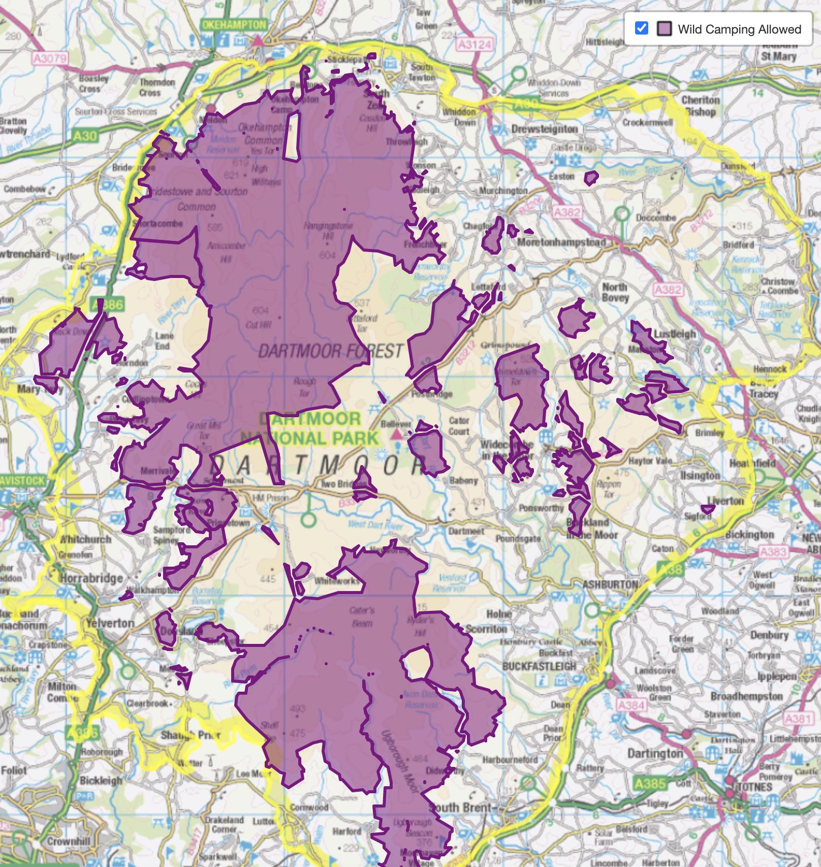 Map wild camping in Dartmoor National Park